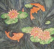 Three Koi in the Waterlily Pond by Alexandra Felgate