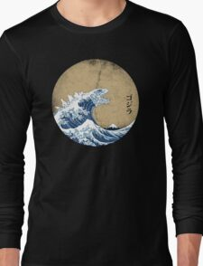 Hokusai Kaiju - Vintage Version Long Sleeve T-Shirt