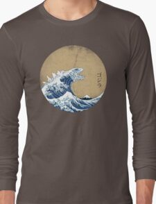 Hokusai Kaiju - Vintage Version Long Sleeve T-Shirt