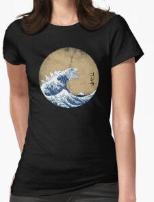 Hokusai Kaiju - Vintage Version Womens Fitted T-Shirt
