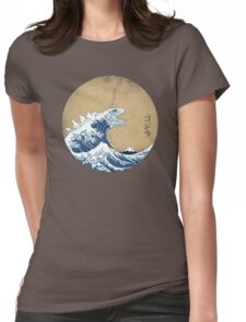 Hokusai Kaiju - Vintage Version Womens Fitted T-Shirt
