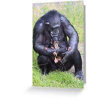 Chimpanzee and Baby Greeting Card