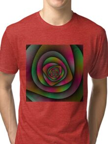 Spiral Labyrinth in Green Pink and Purple Tri-blend T-Shirt