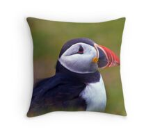 Wind swept Pufin - Hermaness Nature Reserve Throw Pillow