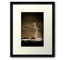 Bo Trek Lightning Strike - Black and White Framed Print