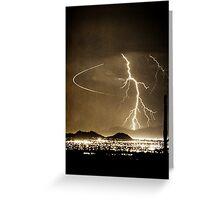 Bo Trek Lightning Strike - Black and White Greeting Card
