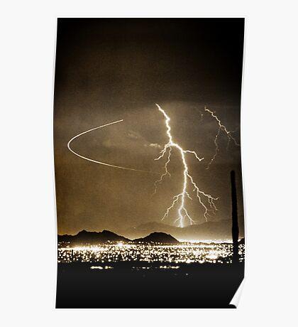 Bo Trek Lightning Strike - Black and White Poster