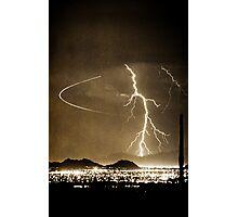 Bo Trek Lightning Strike - Black and White Photographic Print