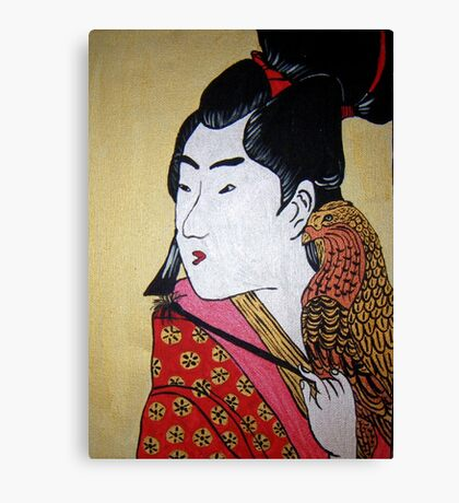 Japanese Man with Falcon Canvas Print