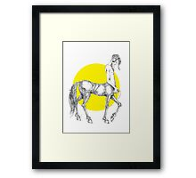 Young centaur with headphones and mp3 player Framed Print