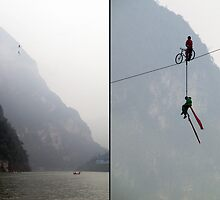 China 2009, Daning River, High Wire Act by DaveLambert