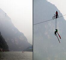 China 2009, Daning River, High Wire Act by DaveLambert