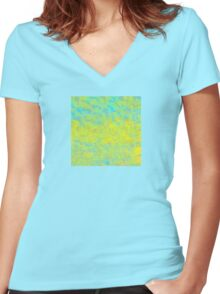 Abstract in Blue, Gold, and Green Women's Fitted V-Neck T-Shirt