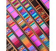 Angled Cloth and Leather Belts Photographic Print