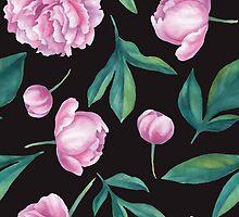 Seamless watercolor peony pattern   by epine