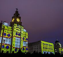 Liver Building Yellow Submarine Projection by Paul Madden