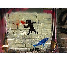 Girl Throwing Firebomb - Banksy Style - Hosier Lane, Melbourne Photographic Print