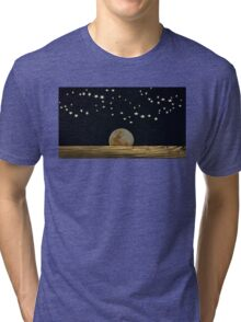 The Moon and Stars in a Night Sky with Cool Water Tri-blend T-Shirt