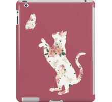 Floral Cat Silhouette Playing with Butterfly iPad Case/Skin