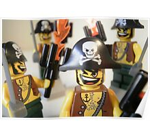 Pirate Captain Minifigure with Flame Torch Poster