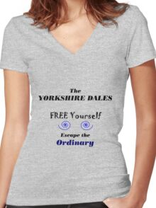 Yorkshire Dales A life less ordinary Women's Fitted V-Neck T-Shirt