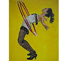 Burlesque woman with red hula hoops Photographic Print
