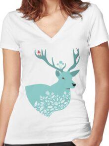 Blue Deer Women's Fitted V-Neck T-Shirt