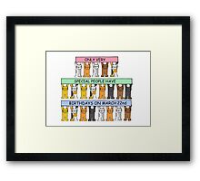 Cats celebrating birthdays on March 22nd. Framed Print