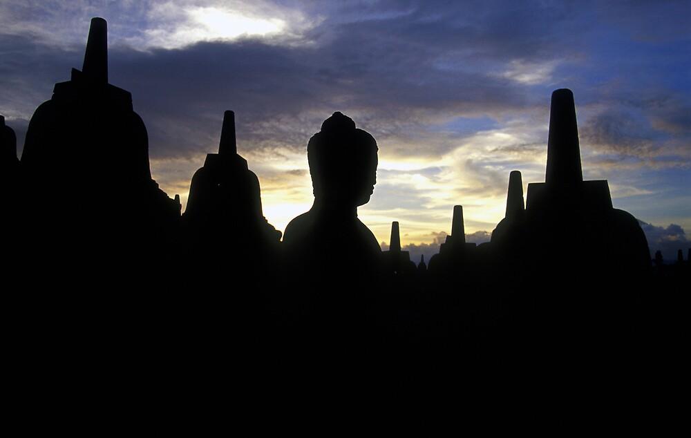 Stupas and Buddha Statue at Sunset, Borobudur  by Petr Svarc
