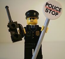 Classic Police Patrol Man Minifigure with Police Stop Sign by Customize My Minifig