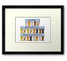 Cats celebrating birthdays on August 3rd. Framed Print