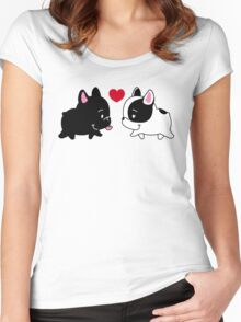 Frenchies in Love Women's Fitted Scoop T-Shirt