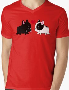 Frenchies in Love Mens V-Neck T-Shirt