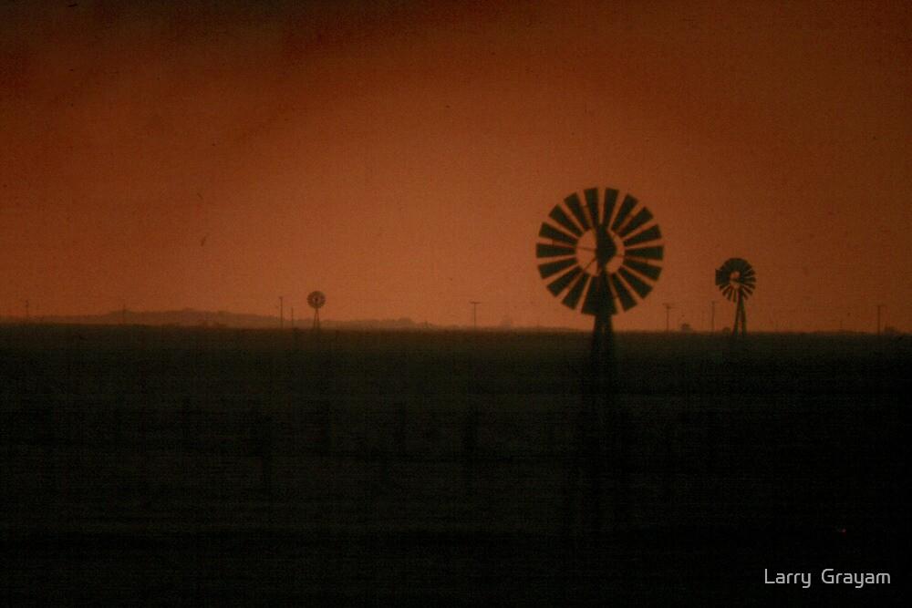 Windmills at dusk by Larry  Grayam