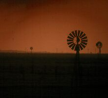 Windmills at dusk by Larry  Grayam