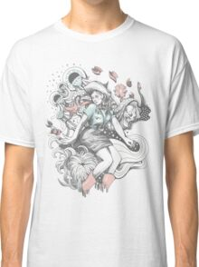 Cowgirl Drawing - Tattoo Style Classic T-Shirt