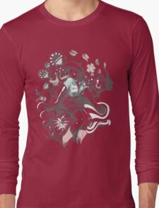 Cowgirl Drawing - Tattoo Style Long Sleeve T-Shirt