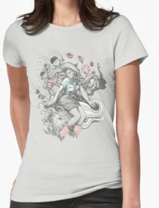 Cowgirl Drawing - Tattoo Style Womens Fitted T-Shirt
