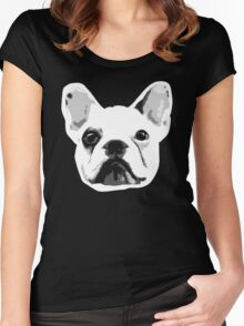Frenchie Face Wrinkles :D Women's Fitted Scoop T-Shirt