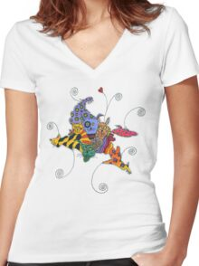 Big Teeth Women's Fitted V-Neck T-Shirt