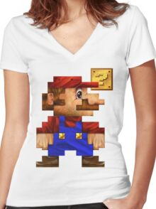 8-Bit Mario Realistic Women's Fitted V-Neck T-Shirt
