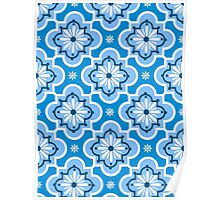 Moroccan tile pattern - Blue and White Poster