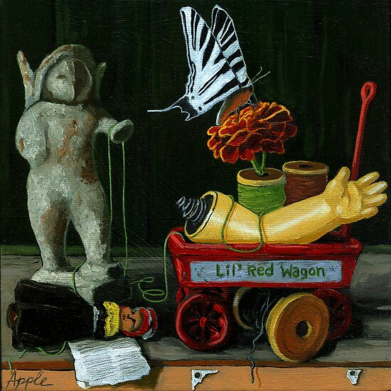 Li'l Red Wagon by LindaAppleArt