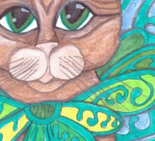 big eyes Orange Tabby Fairy Cat Sticker