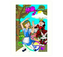 Alice Chased by Cards Art Print