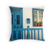 Traditional house in Mykonos Throw Pillow