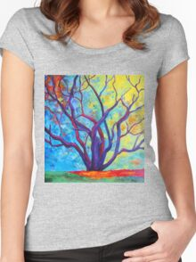 Bright Purple Tree Women's Fitted Scoop T-Shirt