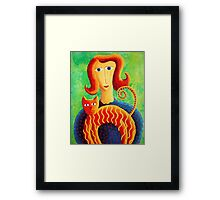 Woman with a Cat Framed Print