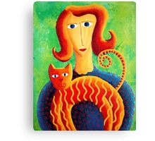 Woman with a Cat Canvas Print