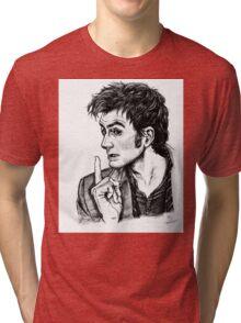 "The Doctor - David Tennant - ""Fingers on Lips!"" Tri-blend T-Shirt"